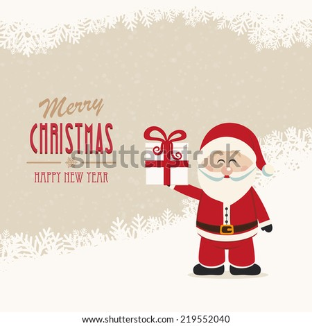 santa claus hold gift winter snowy background - stock vector
