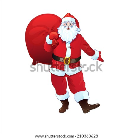 Santa Claus hold sack full of christmas holiday gifts. Cartoon Vector Illustration isolated over white background