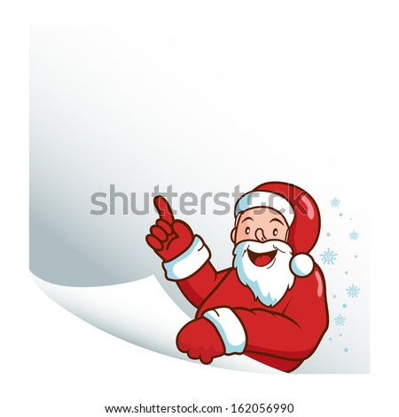 Santa Claus holding a blank piece of paper banner.