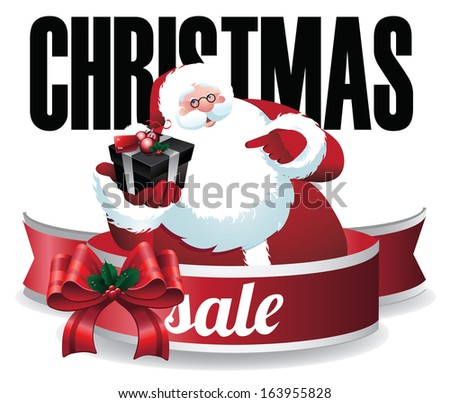 Santa Claus holding a gift box Christmas sale design. EPS 10 vector, grouped for eays editing. No open shapes or paths. - stock vector