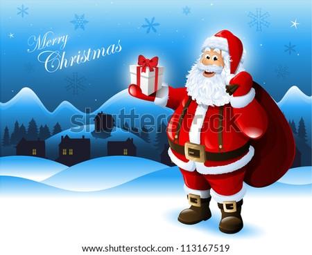 Santa claus holding gift box greeting stock vector royalty free santa claus holding a gift box greeting card design m4hsunfo
