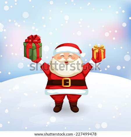 Santa Claus holding a gifts. Christmas vector illustration. Holiday background - stock vector