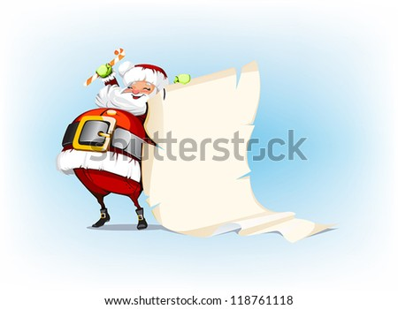 Santa Claus holding candy and standing beside scroll - stock vector