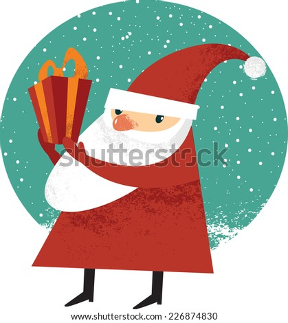 Santa Claus holding Christmas gift - stock vector