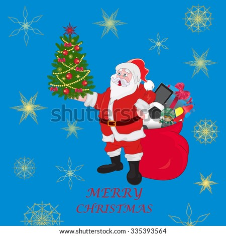 Santa Claus holding Christmas tree and bag with gifts, vector illustration - stock vector