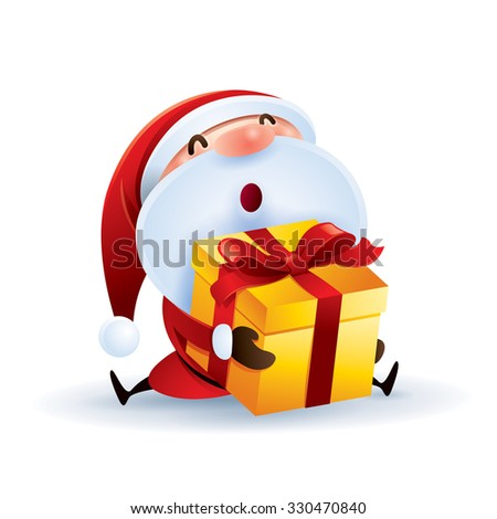 Santa Claus holding gift box - stock vector