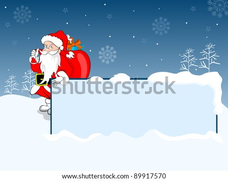 Santa Claus holding Icy frame & lots of gift on his back, greeting Card for Christmas,Winter & other occasions.