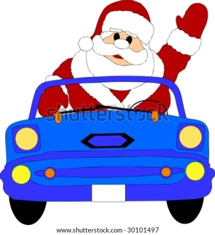 santa claus in a blue car - stock vector