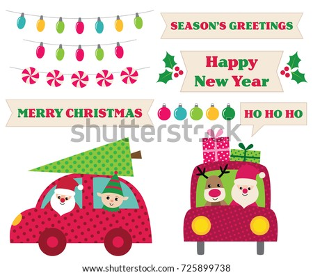 Santa Claus in a car, vector Christmas design elements collection