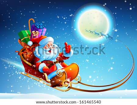 Santa Claus in a sleigh - stock vector