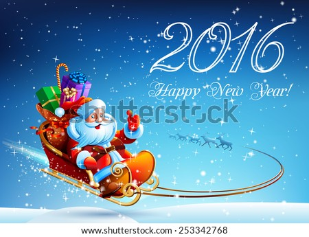 Santa Claus in a sleigh pulled by reindeer flying in the night sky. Gifts for children in a sleigh. TOP Happy New Year. Merry Christmas. Design, picture, illustration, image. Vector. Icon. - stock vector