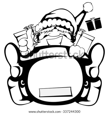Santa Claus in action - Santa sleigh is out of control (black and white silhouette)