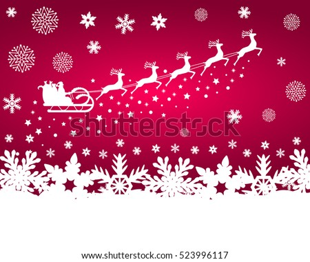 Santa Claus in sled rides in the  reindeer on a purple backg