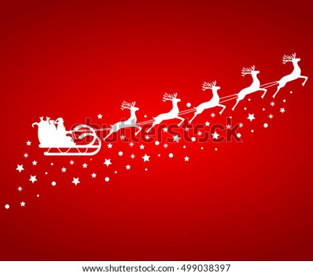 Santa Claus in sled rides in the sled reindeer on a red background