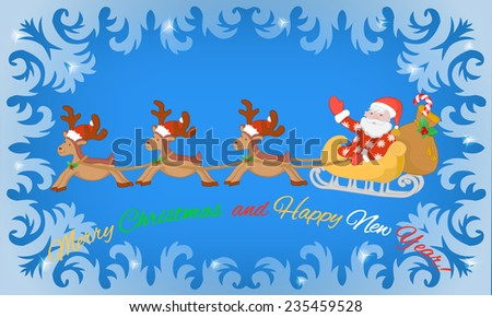 Santa Claus in sleigh and reindeers on background of  frosty pattern - stock vector