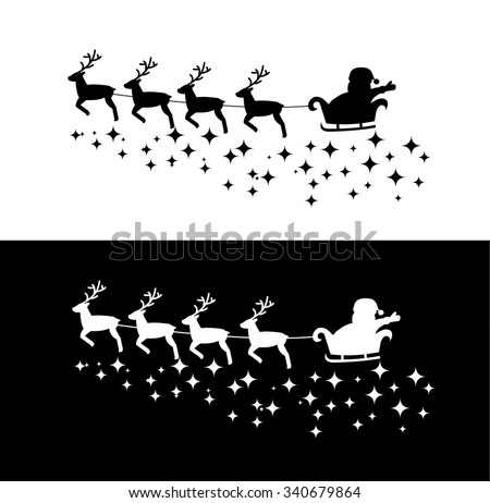 Santa Claus in the sleigh with deers, flying on the sky, vector illustration - stock vector