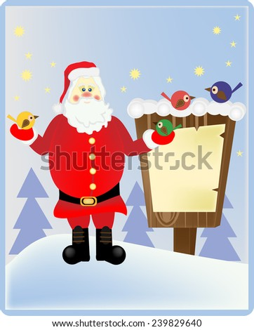 Santa Claus in the wood with a bulletin board - stock vector