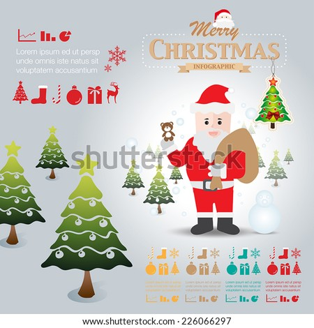 Santa claus infographic elements illustration vector
