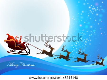 Santa Claus  is coming to town - stock vector