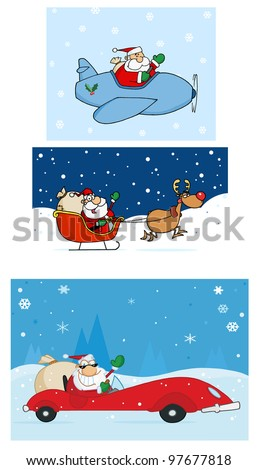 Santa Claus Is Coming To Town. Vector Collection - stock vector