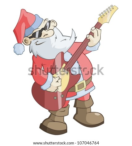 Santa Claus is playing the guitar - stock vector