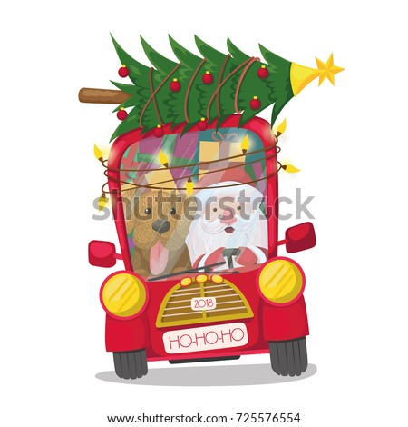 Santa Claus is riding a red car with a dog, a Christmas tree, gifts and a garland. vector illustration, holidays, christmas, new year