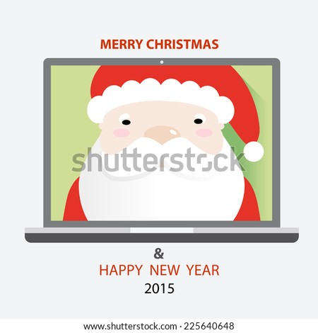 Santa Claus Laptop - stock vector
