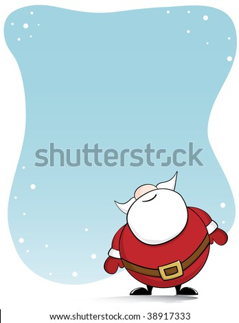 Santa Claus looking up at the snowy sky with copy space - stock vector