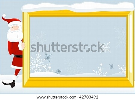 Santa Claus looks out the large frame. May well arrange your text - stock vector