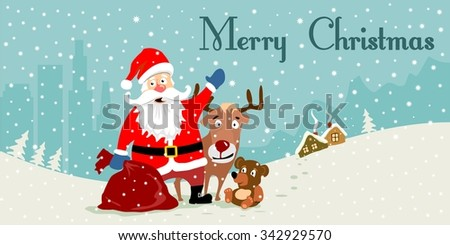 santa claus merry christmas cartoon winter deer postcard illustration merry cristmas snowman snowflake santa winter xmas vintage card girl, holiday, snowman, Father Frost ded moroz children, sledge  - stock vector