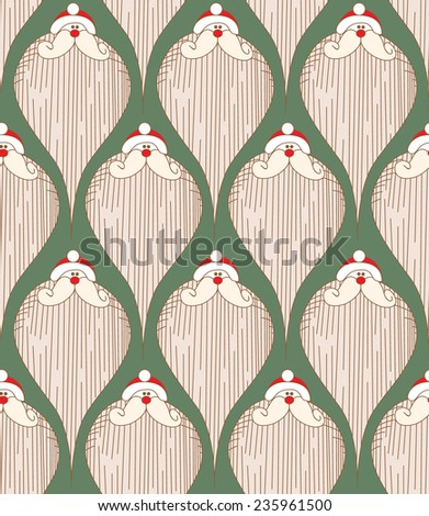 Santa Claus Merry Christmas retro paper textile vector seamless pattern - stock vector