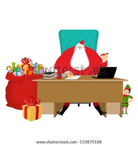 Santas Working Office Claus Work Christmas Stock Vector