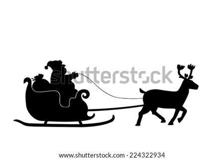 Santa claus on his sleigh - stock vector