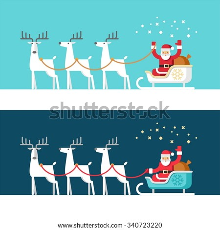 Santa Claus on sleigh and his reindeers. Christmas card. Vector illustration, flat style. - stock vector