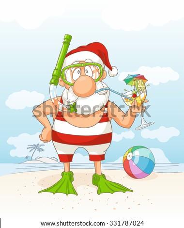 Santa Claus on Summer Holiday Vector Cartoon - Santa Claus on a beach holding a tropical cocktail
