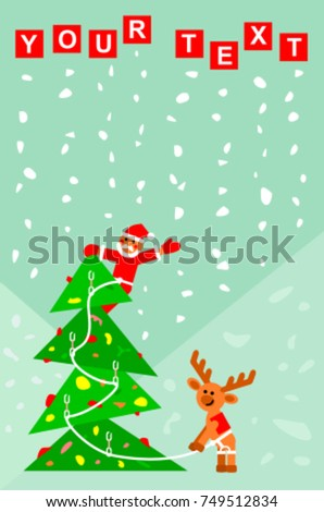 Santa Claus on the top of the Christmas tree belayed by reindeer. Indoor rock climbing story vector illustration. Template for Christmas and New Year card, banner, invitation letter, advertising