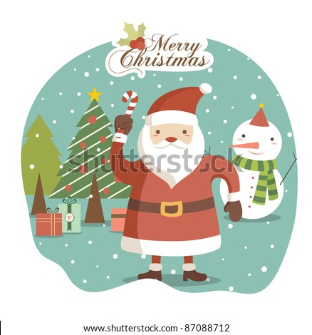 Santa Claus on Winter with Lovely Background. Christmas Greeting Card Design. - stock vector