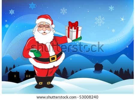 Santa claus over blue background