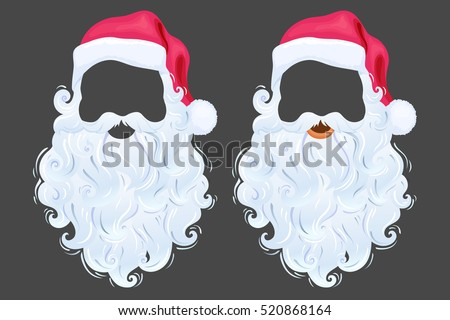 Santa Claus photo props hat, beard and mustache. Realistic cute Christmas mask