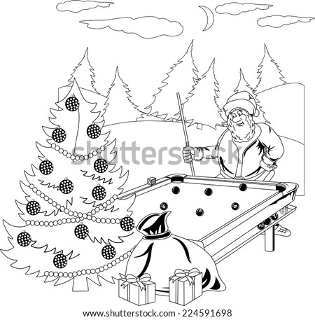 Santa Claus playing billiards in the winter forest - stock vector