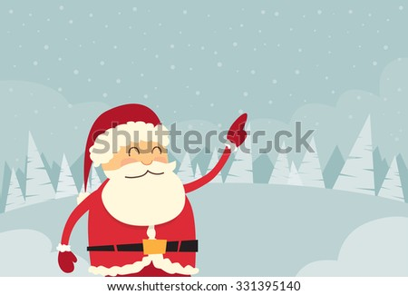 Santa Claus Point Finger Copy Space Winter Snow Forest Christmas Holiday Sale Flat Vector Illustration - stock vector