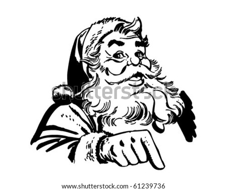 Santa Claus Pointing - Retro Clip Art - stock vector