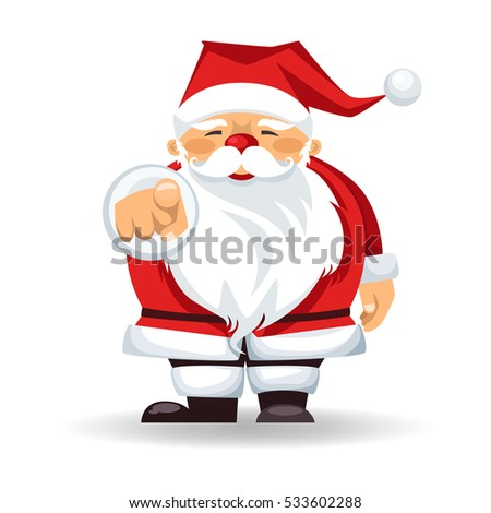 Santa Claus points a finger. isolated cartoon character. vector illustration