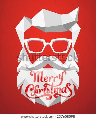 Santa Claus polygon background - stock vector