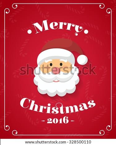Santa Claus Portrait. Vector Illustration Greeting Card - stock vector