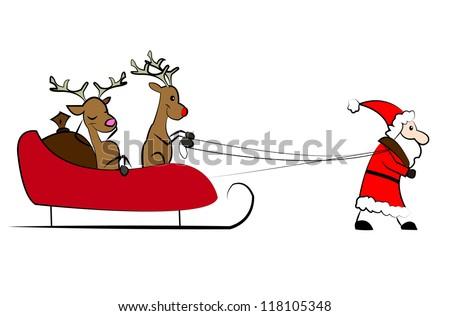 Santa Claus pulling the Christmas sleigh - stock vector
