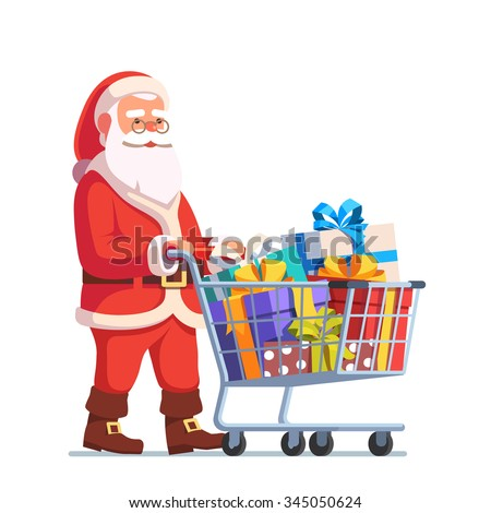 Santa Claus pushing shopping cart full of presents in gift boxes with ribbons. Flat style vector illustration isolated on white background. - stock vector