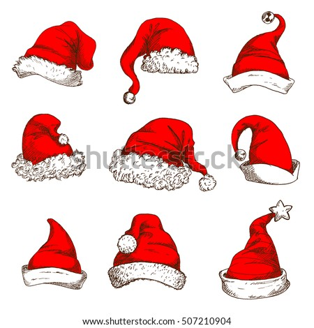 Santa Claus red hat icon set. Christmas red hat and cap of Santa and elf with white fur trim, pom-pom, jingle bell and star. Christmas and New Year design element