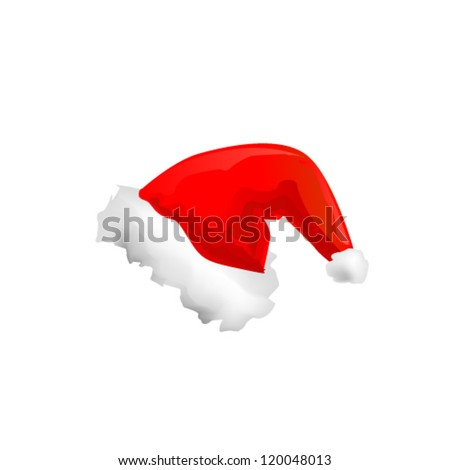 Santa Claus red hat isolated on white background. Vector