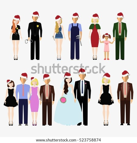 Santa Claus red hat on different people. Men and women, boys and girls wearing Santa hat. Happy New Year and Merry Christmas. Clothes holiday elements. Isolated flat vector illustration set.
